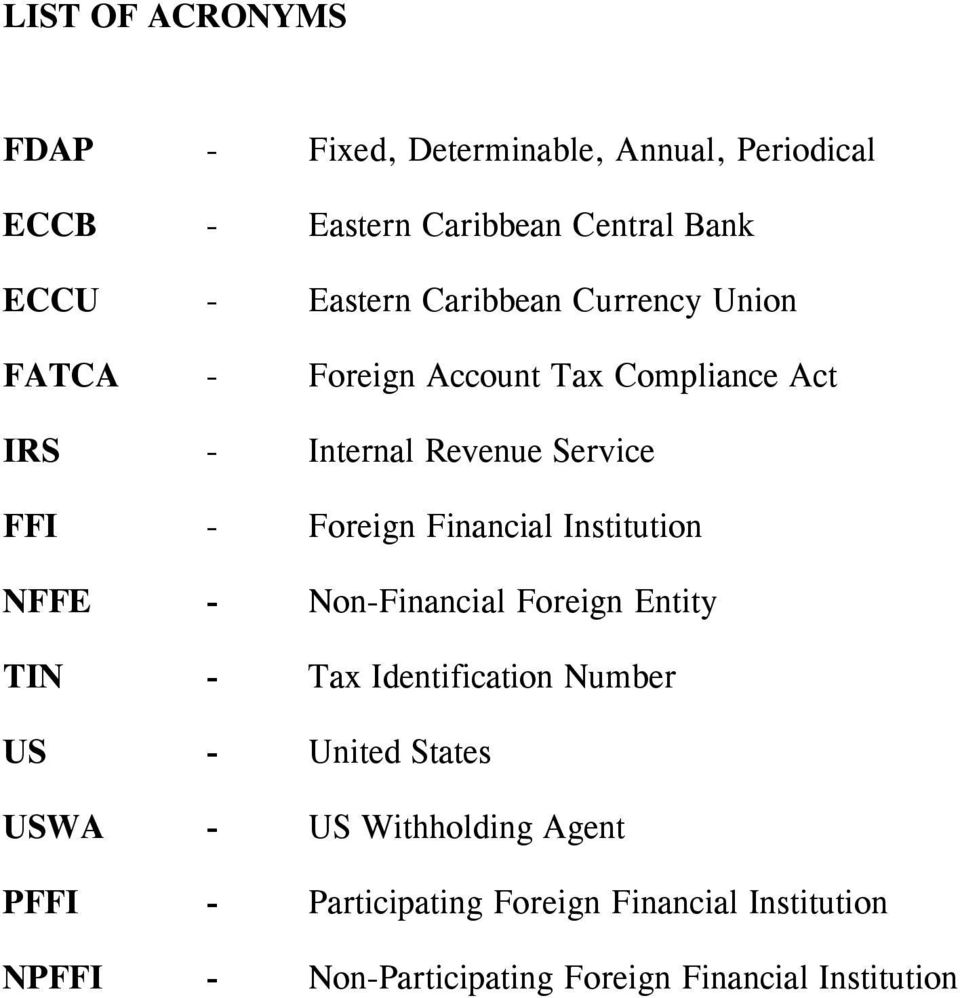 Financial Institution NFFE - Non-Financial Foreign Entity TIN - Tax Identification Number US - United States USWA - US