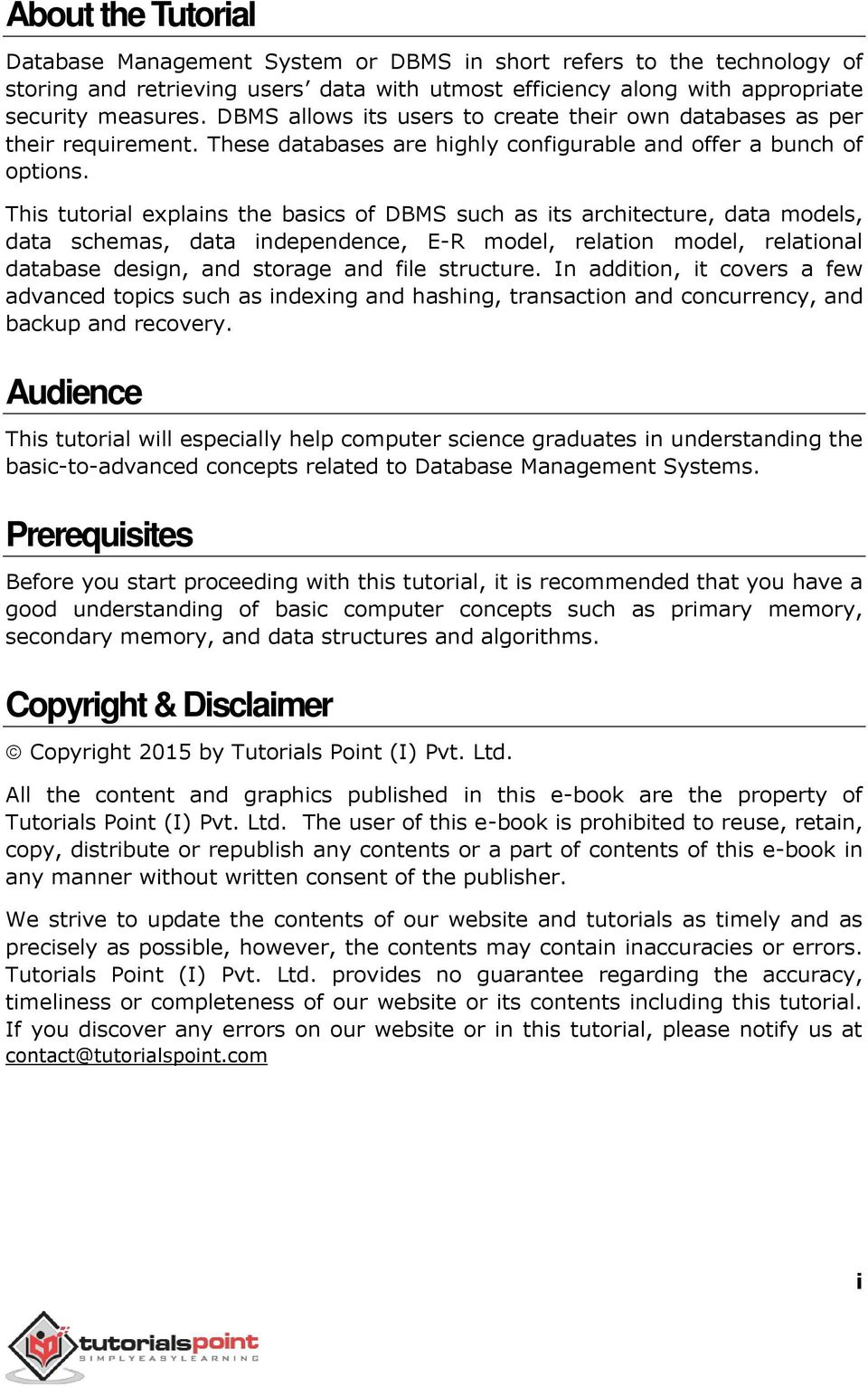 About The Tutorial Audience Prerequisites Copyright Disclaimer Pdf Free Download