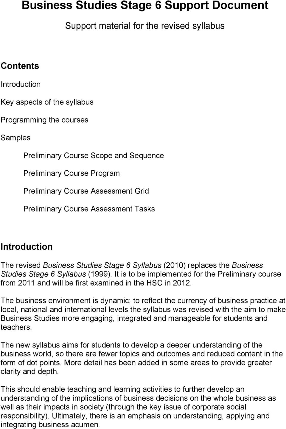 Business Studies Stage 6 Support Document - PDF