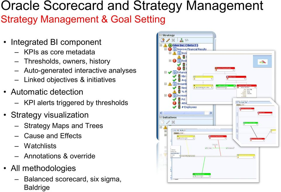 initiatives Automatic detection KPI alerts triggered by thresholds Strategy visualization Strategy Maps and