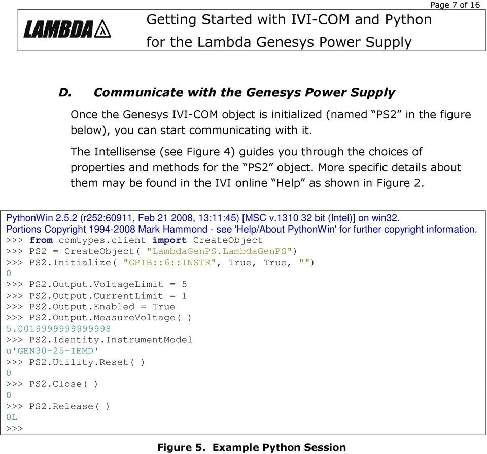 Getting Started with IVI-COM and Python for the Lambda Genesys Power