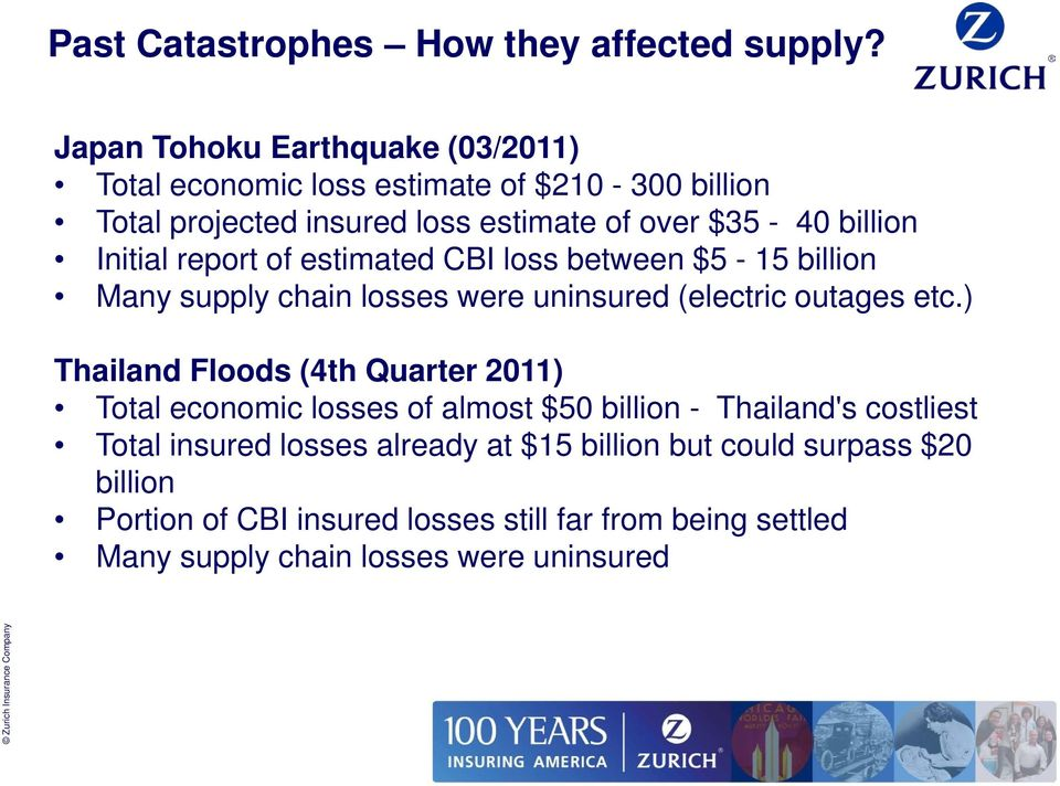Initial report of estimated CBI loss between $5-15 billion Many supply chain losses were uninsured (electric outages etc.