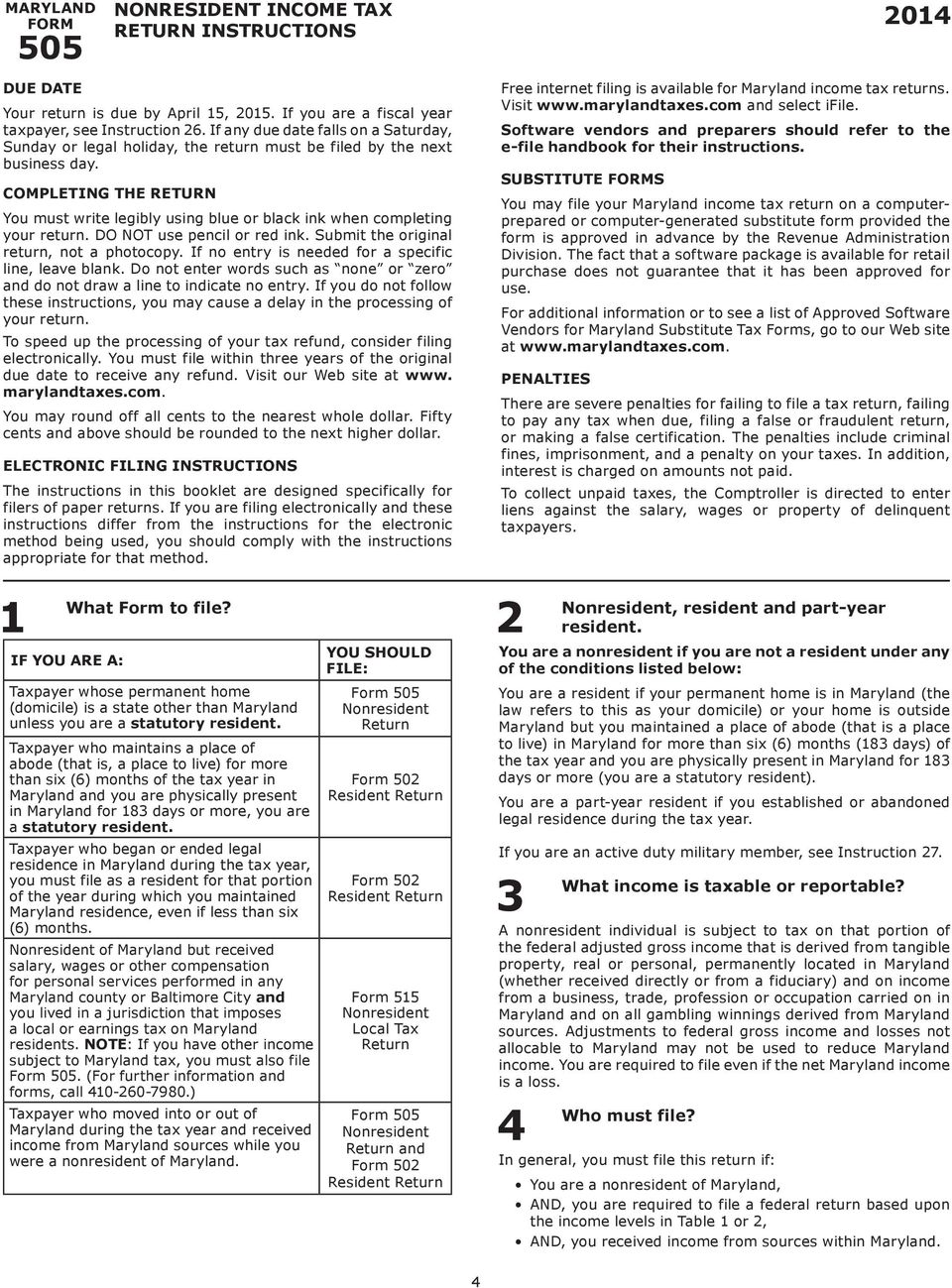 MARYLAND NONRESIDENT TAX FORMS & INSTRUCTIONS  For filing
