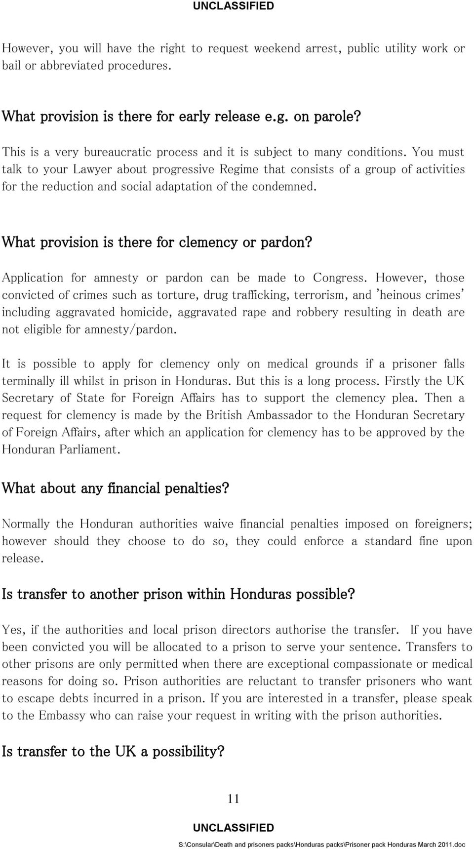 Information For British Nationals Imprisoned In Honduras Pdf Wiring Money To You Must Talk Your Lawyer About Progressive Regime That Consists Of A Group Activities