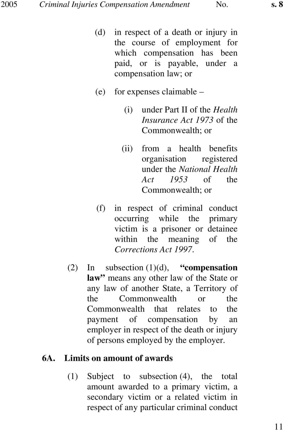 of the Health Insurance Act 1973 of the Commonwealth; or from a health benefits organisation registered under the National Health Act 1953 of the Commonwealth; or (f) in respect of criminal conduct