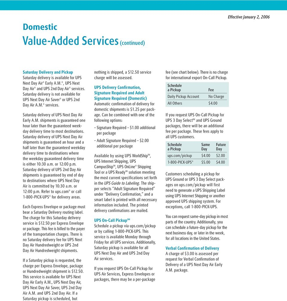 Value-Added and UPS Returns SM Services Rates - PDF