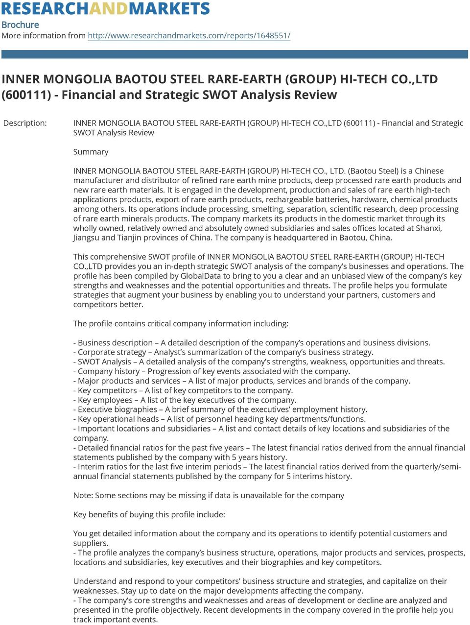 ,LTD (600111) - Financial and Strategic SWOT Analysis Review Summary INNER MONGOLIA BAOTOU STEEL RARE-EARTH (GROUP) HI-TECH CO., LTD.