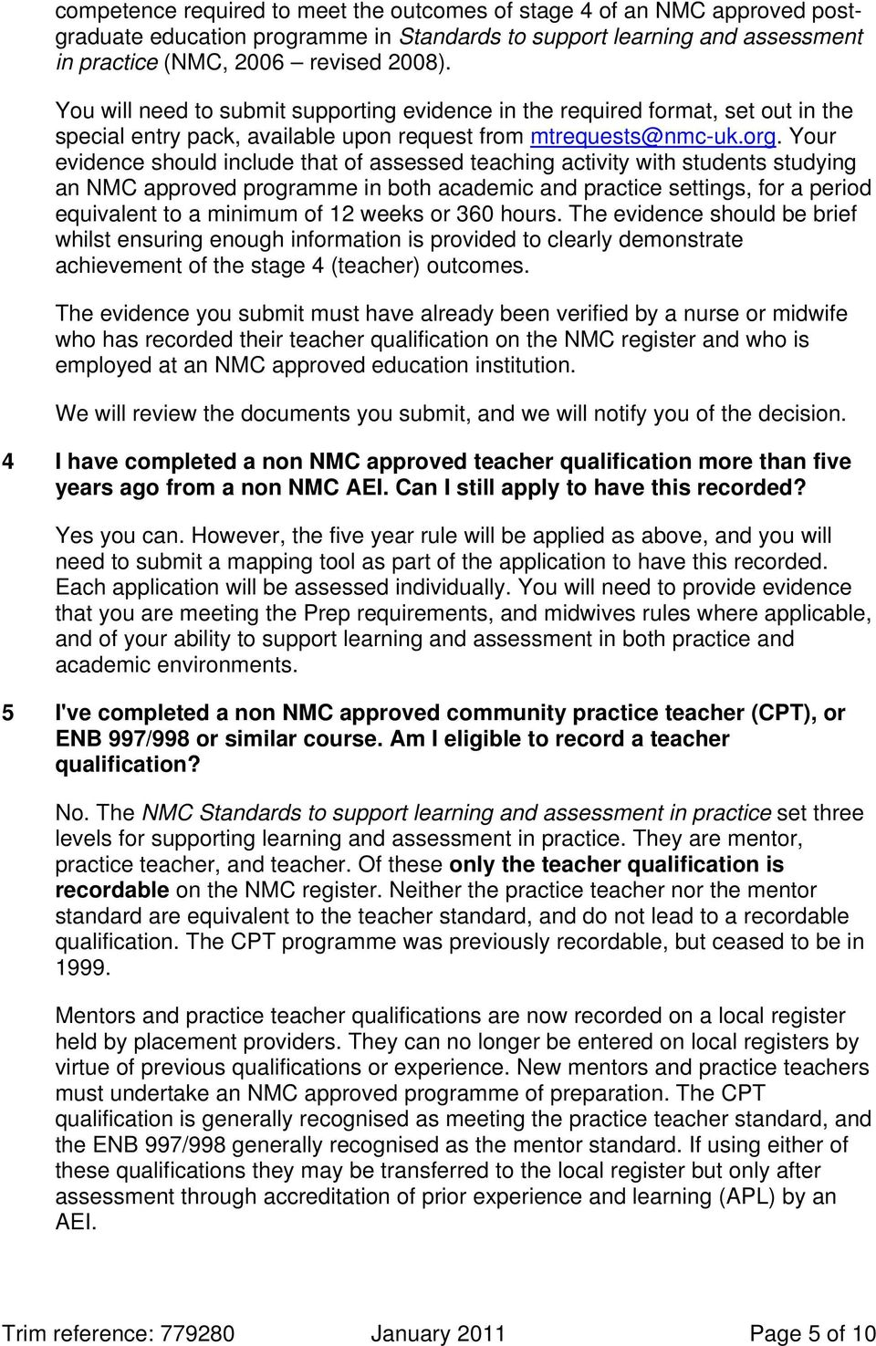 standards to support learning and assessment in practice