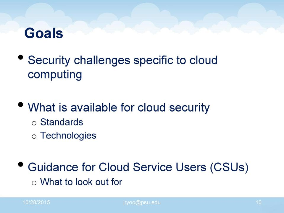 Standards o Technologies Guidance for Cloud Service