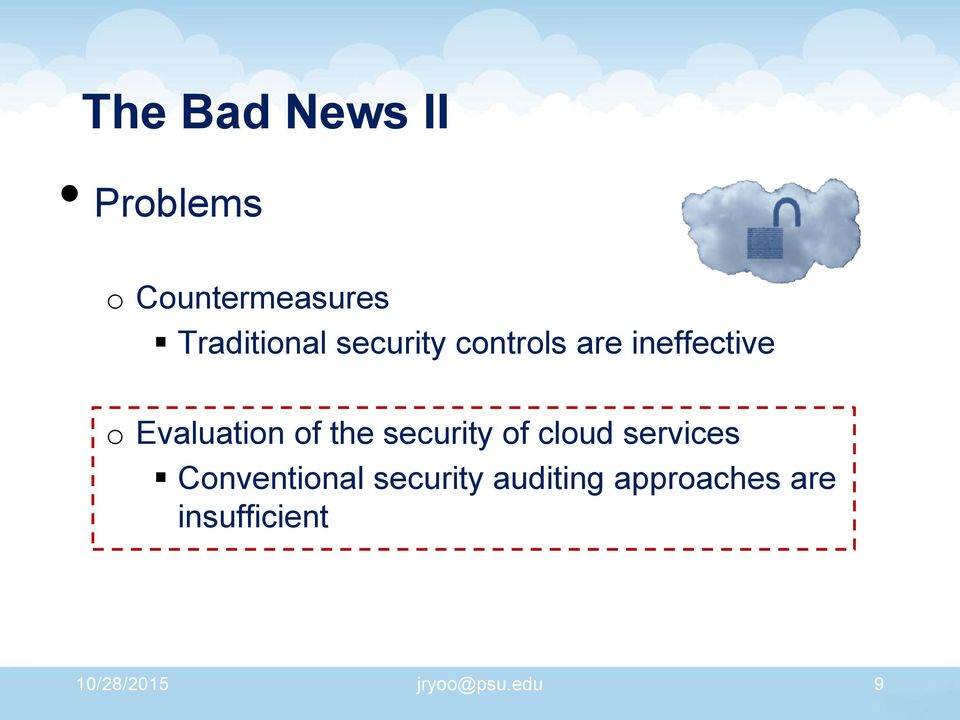 security of cloud services Conventional security