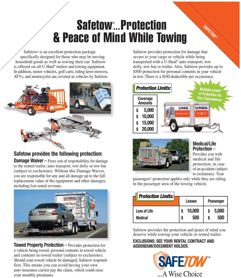 Play It Safe  While Moving, Storing or Towing  to protect