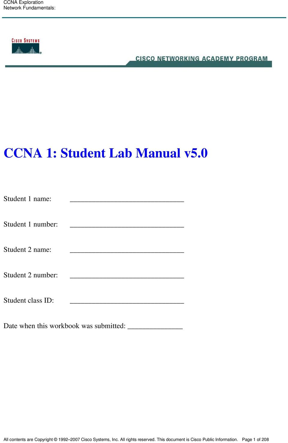 Student class ID: Date when this workbook was submitted: All contents