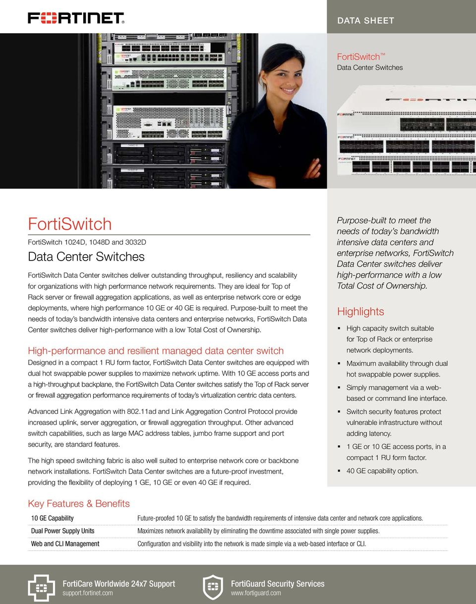 FortiSwitch  Data Center Switches  Highlights  High
