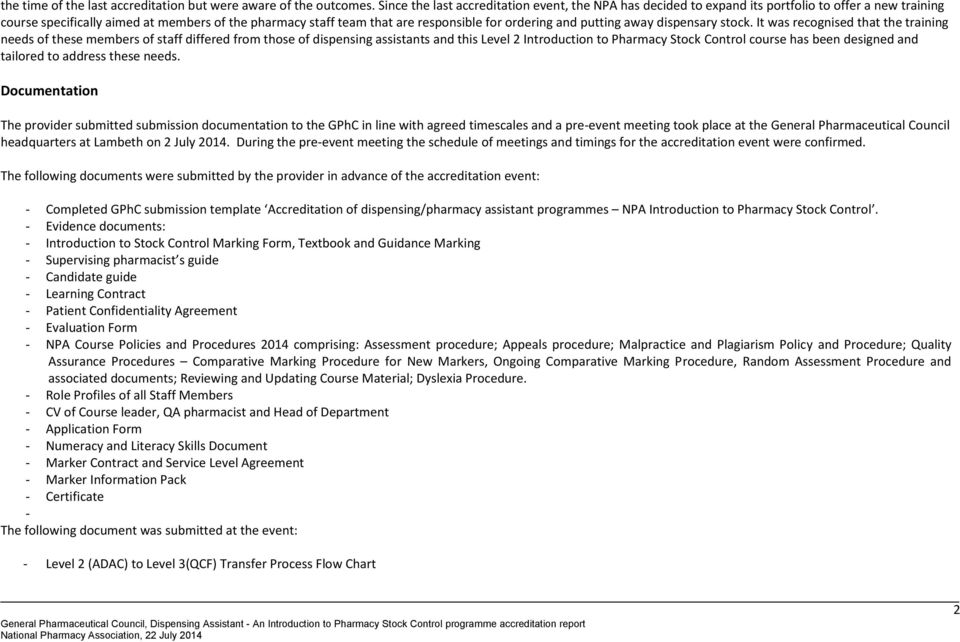 Accreditation Of A Dispensing Pharmacy Assistant Programme An