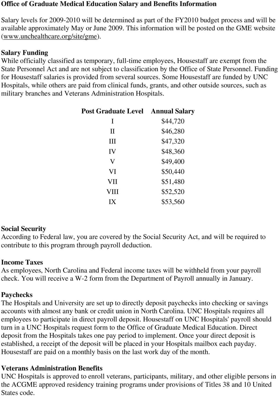 Office of Graduate Medical Education Salary and Benefits