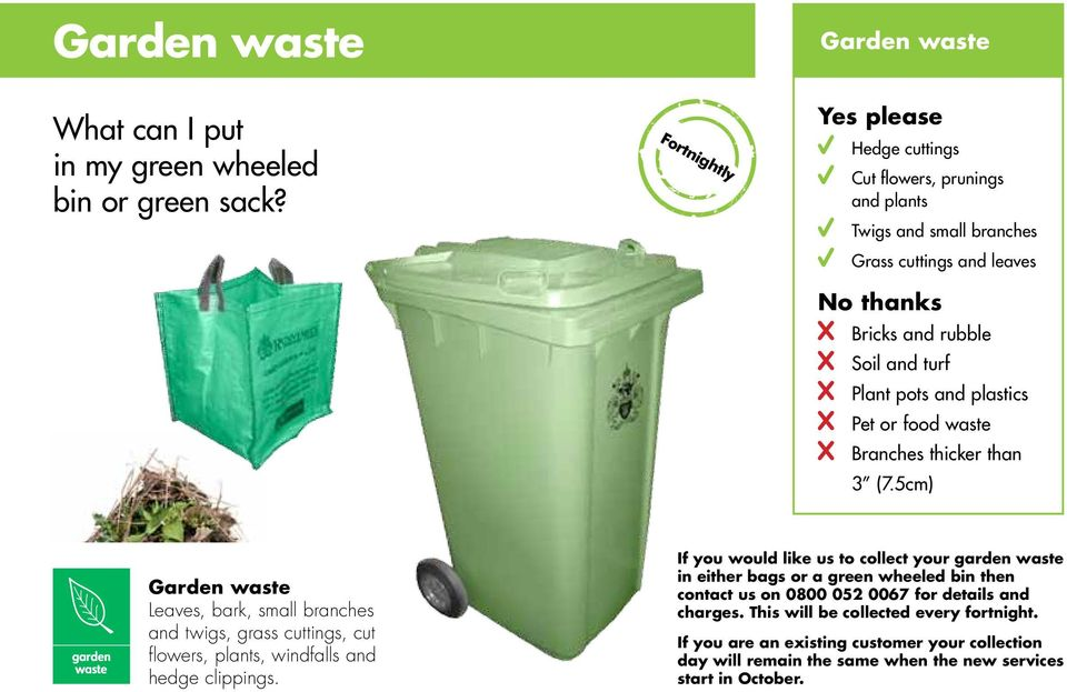 waste Branches thicker than 3 (7.5cm) Garden waste Leaves, bark, small branches and twigs, grass cuttings, cut flowers, plants, windfalls and hedge clippings.