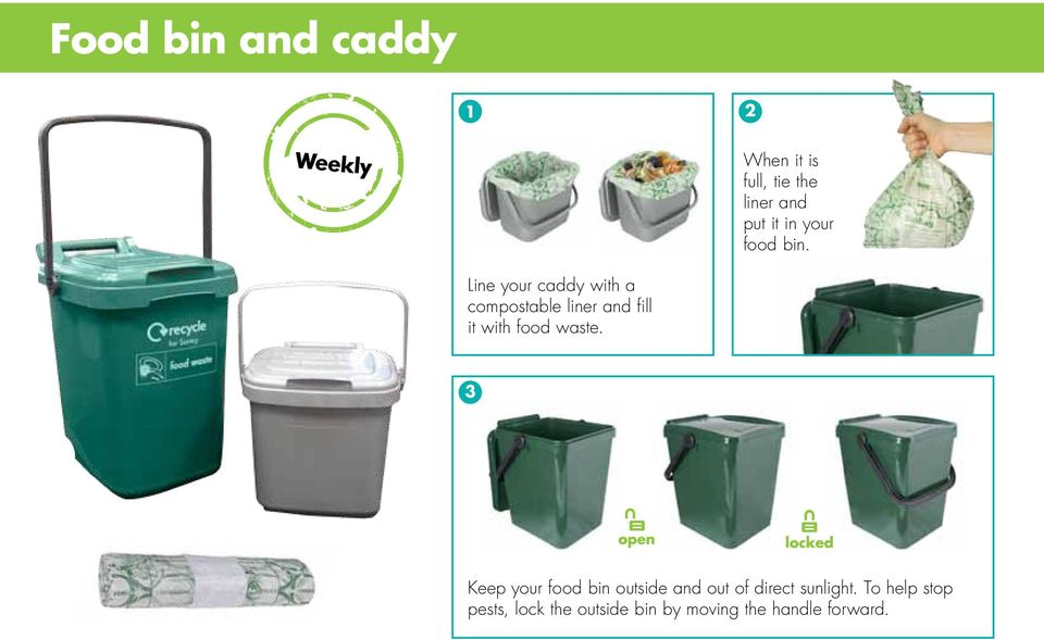 Line your caddy with a compostable liner and fill it with food waste.
