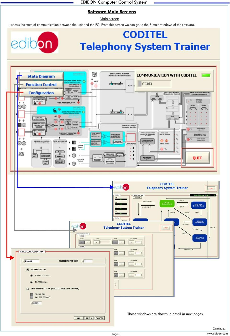 Telephony Systems Trainer Coditel Pdf Telephone Switcher Circuit Diagram From This Screen We Can Go To The 3 Main Windows Of Software