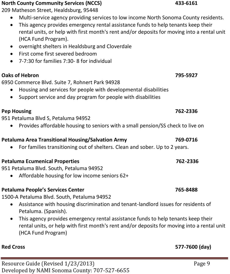 Housing Resources  Resource Guide (Revised 1/23/2013) Page 1