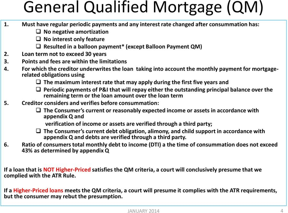 2. Loan term not to exceed 30 years 3. Points and fees are within the limitations 4.