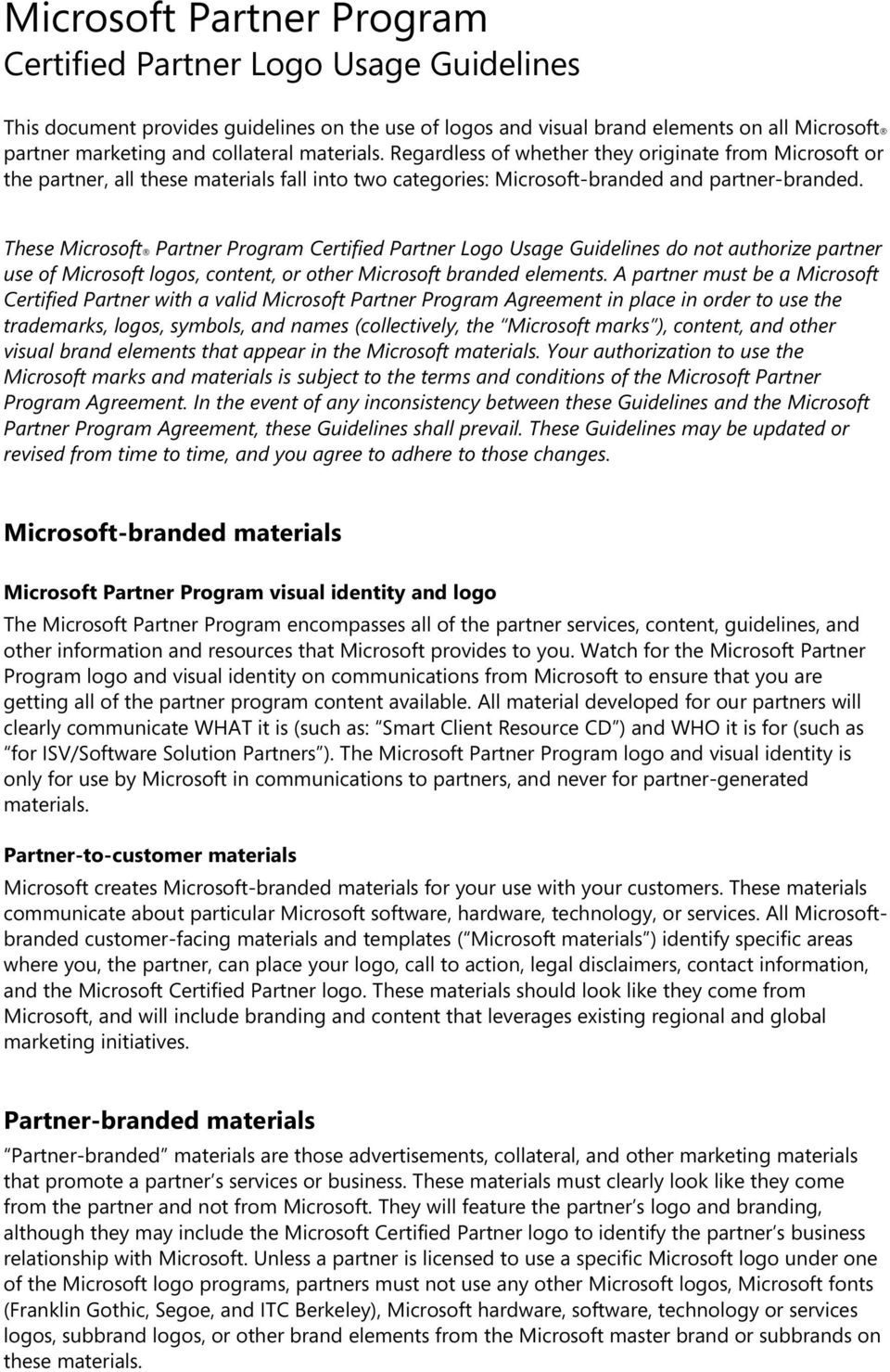 Microsoft Partner Program Certified Partner Logo Usage Guidelines Pdf