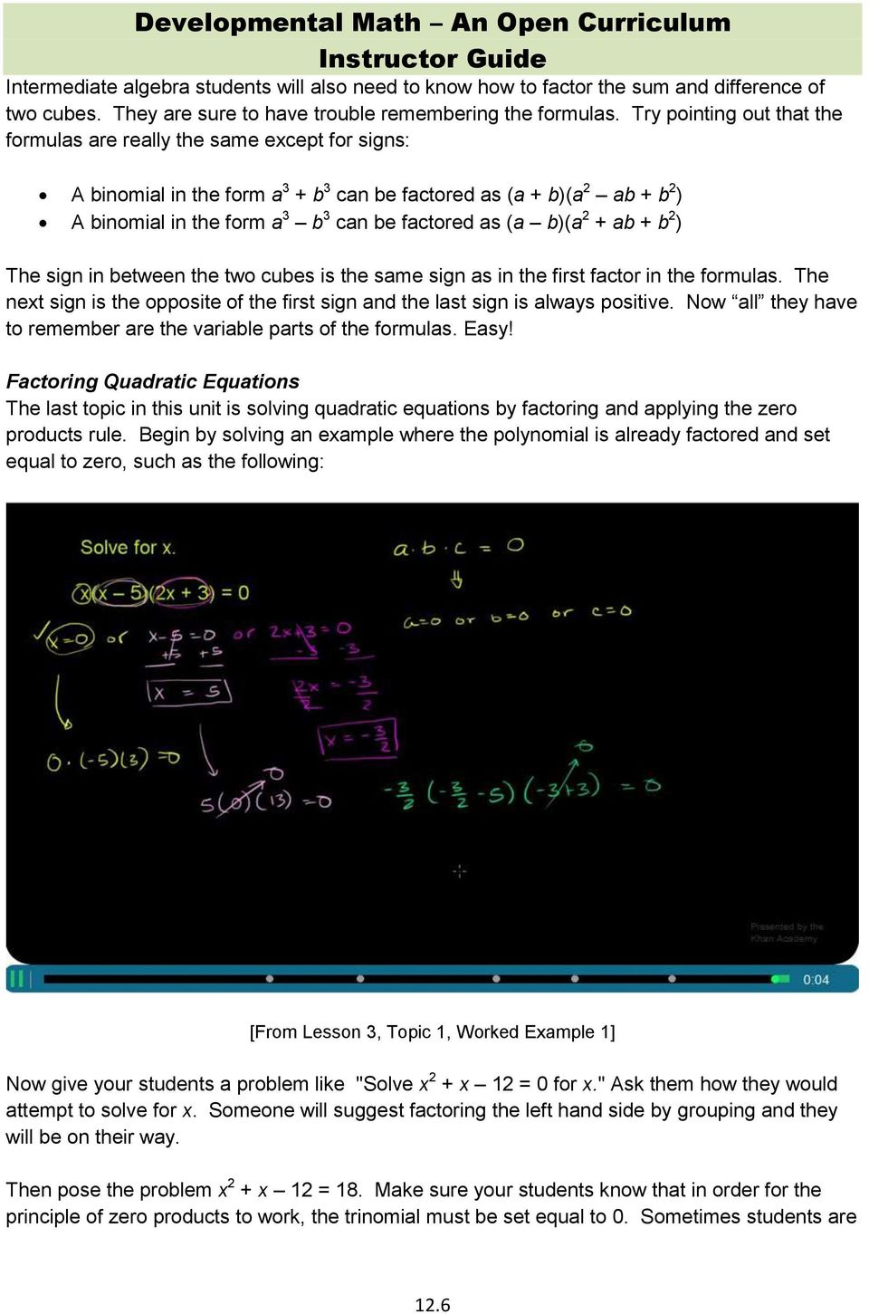 Unit 12: Introduction to Factoring  Learning Objectives PDF
