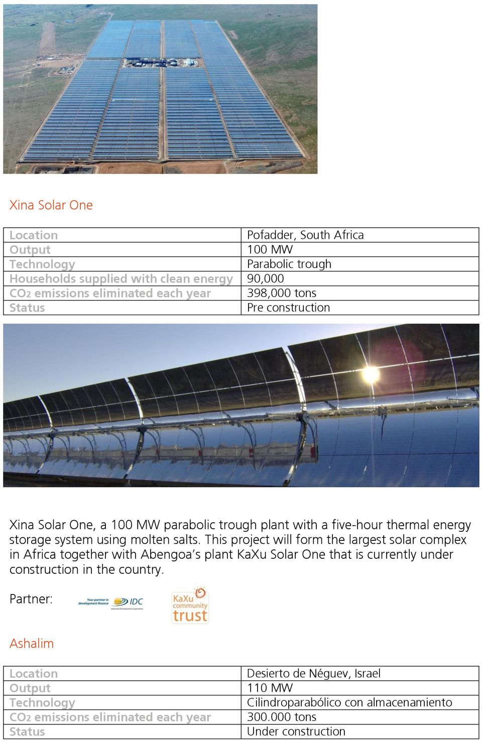 This project will form the largest solar complex in Africa together with Abengoa s plant KaXu Solar One that is currently