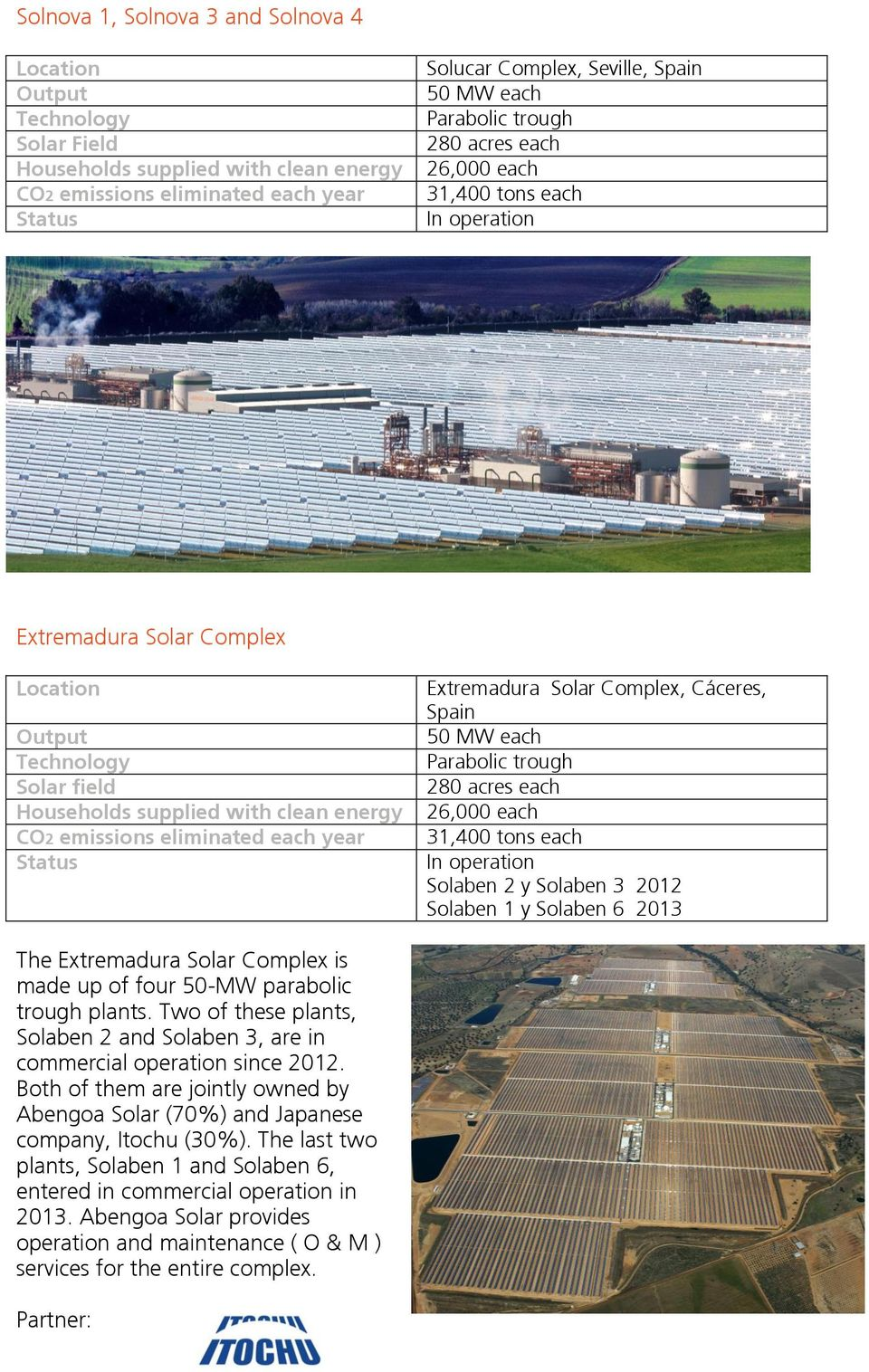 Extremadura Solar Complex is made up of four 50-MW parabolic trough plants. Two of these plants, Solaben 2 and Solaben 3, are in commercial operation since 2012.