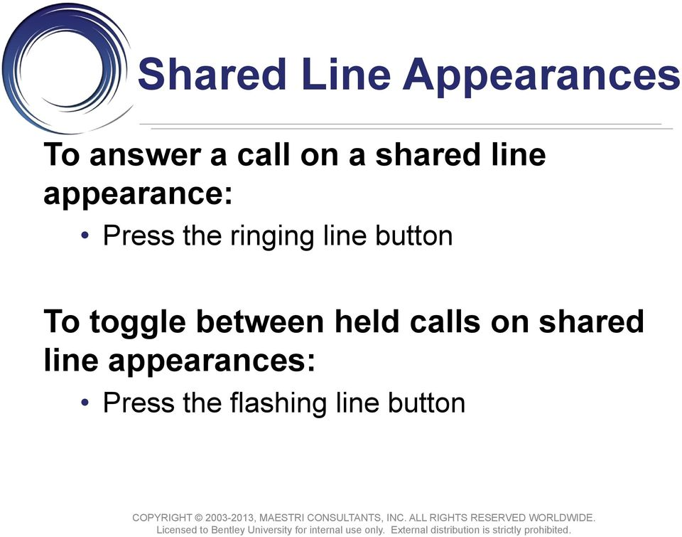 button To toggle between held calls on shared