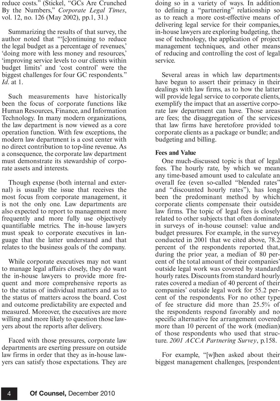 The Development of the Corporate Law Department and Its