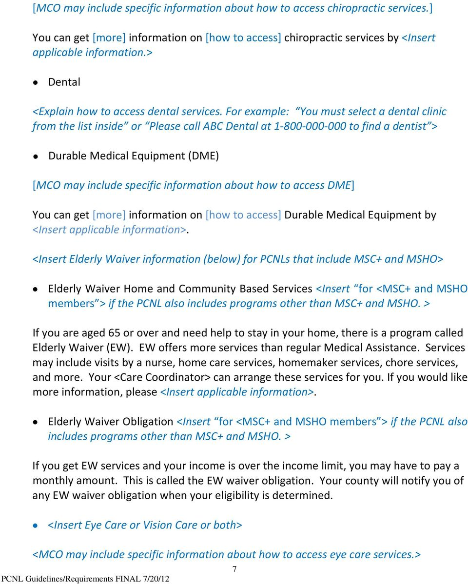 Abc Dental Care primary care network list (pcnl) guidelines: requirements