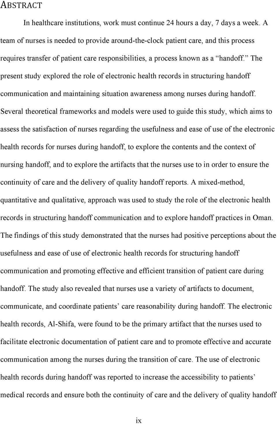 The Role Of Electronic Health Records In Structuring Nursing Handoff