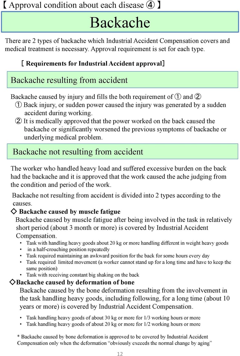 [ Requirements for Industrial Accident approval] Backache resulting from accident Backache caused by injury and fills the both requirement of 1 and 2 1 Back injury, or sudden power caused the injury