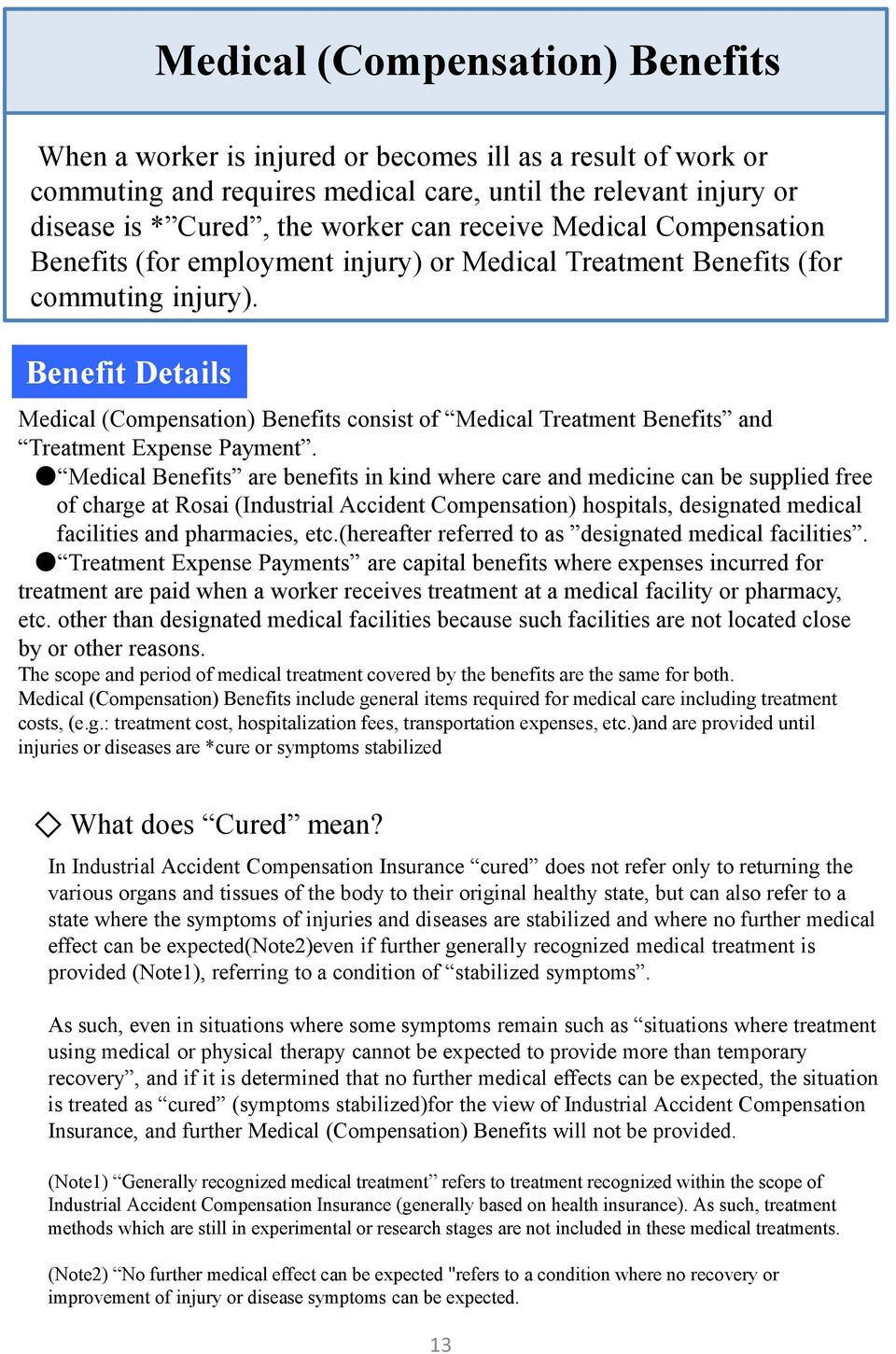 Benefit Details Medical (Compensation) Benefits consist of Medical Treatment Benefits and Treatment Expense Payment.