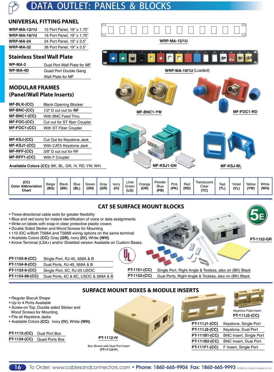 Voice Data Communication Components Accessories Pdf Bh Keystone Cat6 Jack Wiring Diagram Cat 6 Wall Plate For Mf Wrp Ma 12 1u 16