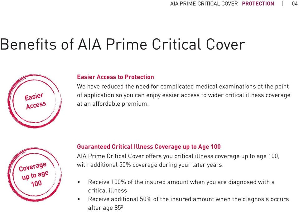 Coverage up to age 100 Guaranteed Critical Illness Coverage up to Age 100 AIA Prime Critical Cover offers you critical illness coverage up to age 100, with additional