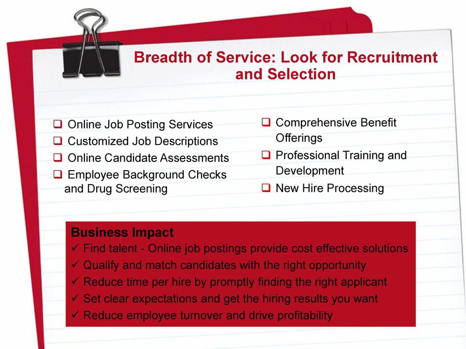 Impact Find talent - Online job postings provide cost effective solutions Qualify and match candidates with the right opportunity Reduce time per
