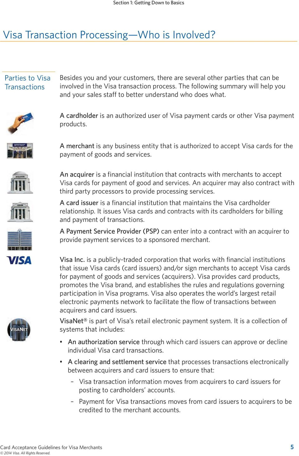The following summary will help you and your sales staff to better understand who does what. A cardholder is an authorized user of Visa payment cards or other Visa payment products.