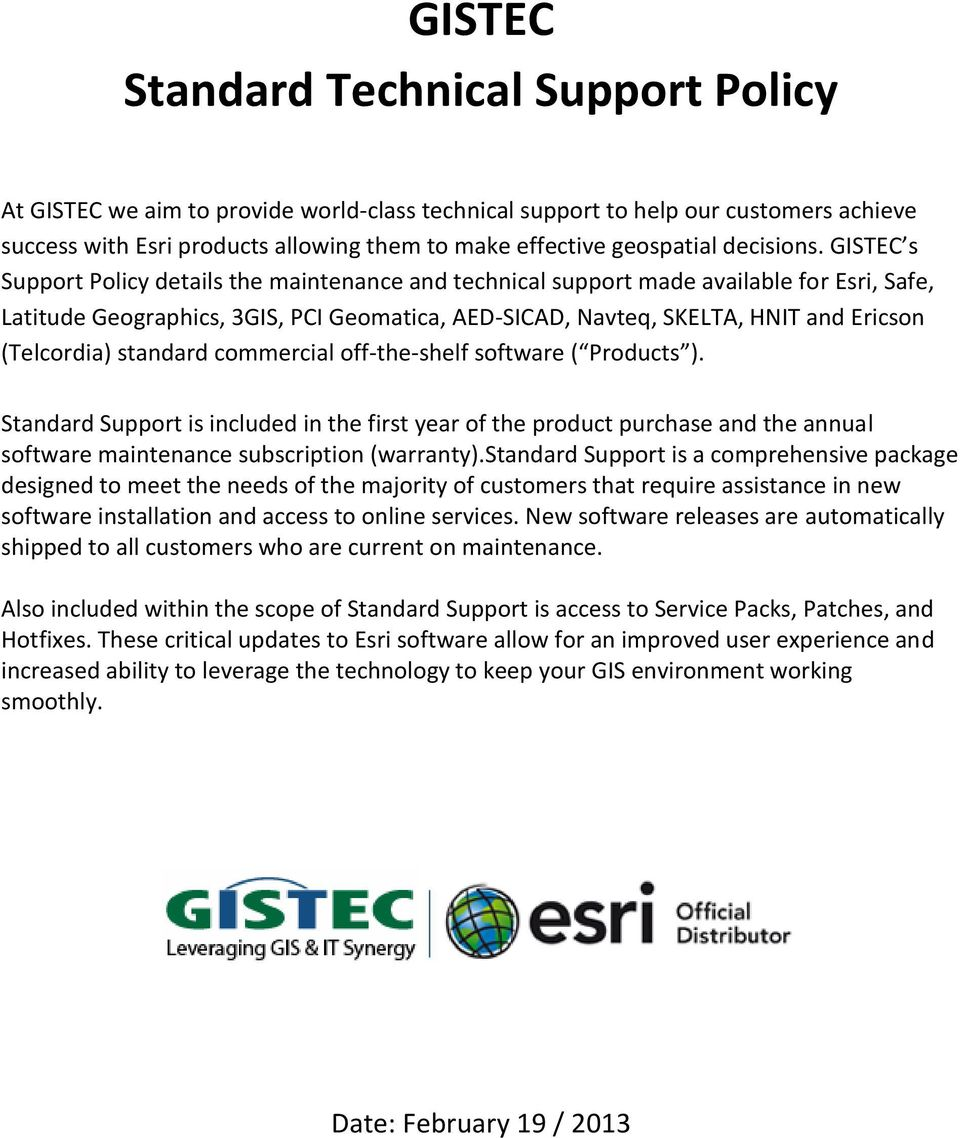GISTEC Standard Technical Support Policy - PDF