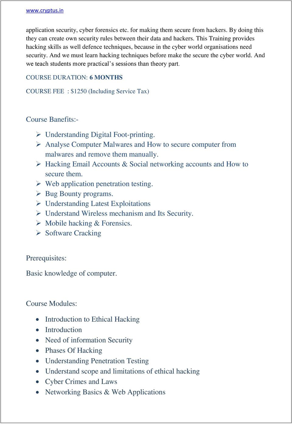 Cryptus Diploma In It Security Pdf Data Training Courses And We Teach Students More Practical S Sessions Than Theory Part Course Duration 6