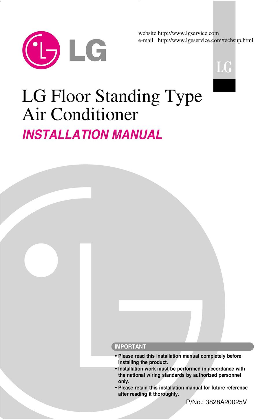 Lg Floor Standing Type Air Conditioner Installation Manual Pdf Free Download