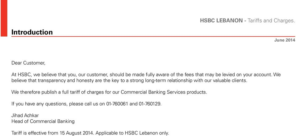 TARIFF AND CHARGES CORPORATE BANKING HSBC LEBANON - PDF