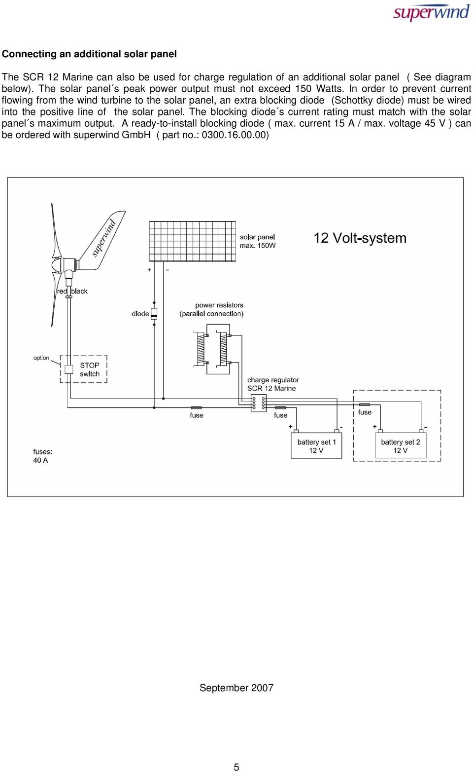 Charge Regulator Scr 12 Marine Pdf Solar Panel Wiring Diagram In Order To Prevent Current Flowing From The Wind Turbine An