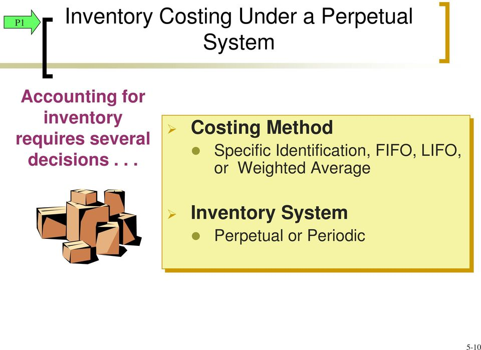 .. Costing Method Specific Identification, FIFO,
