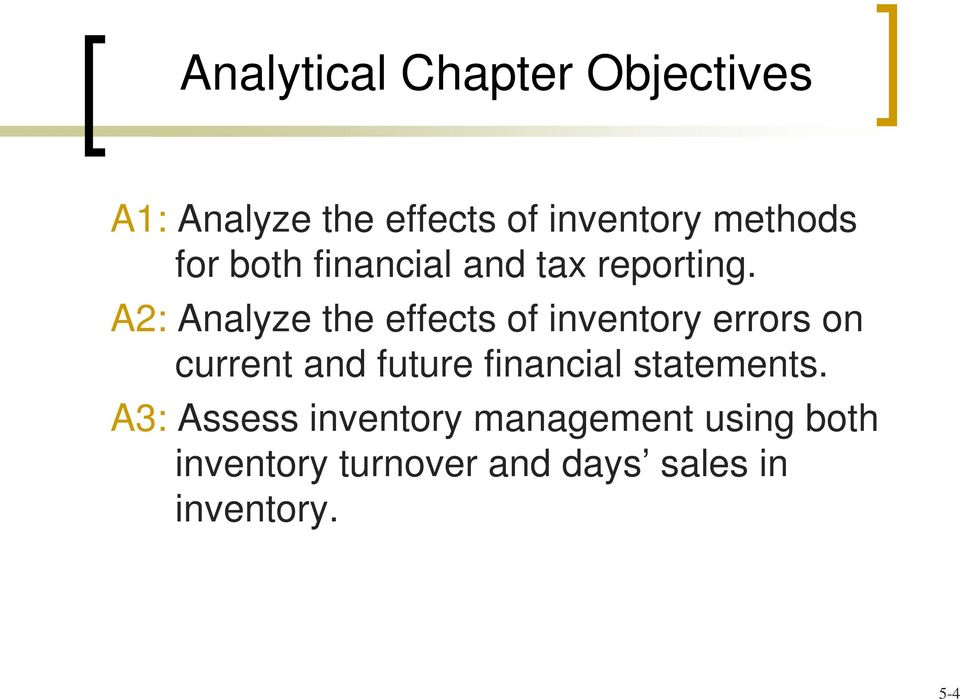 A2: Analyze the effects of inventory errors on current and future