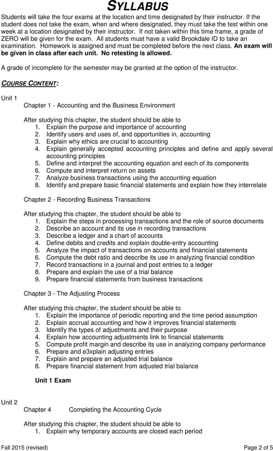 SYLLABUS  Title: Principles of Accounting I - PDF