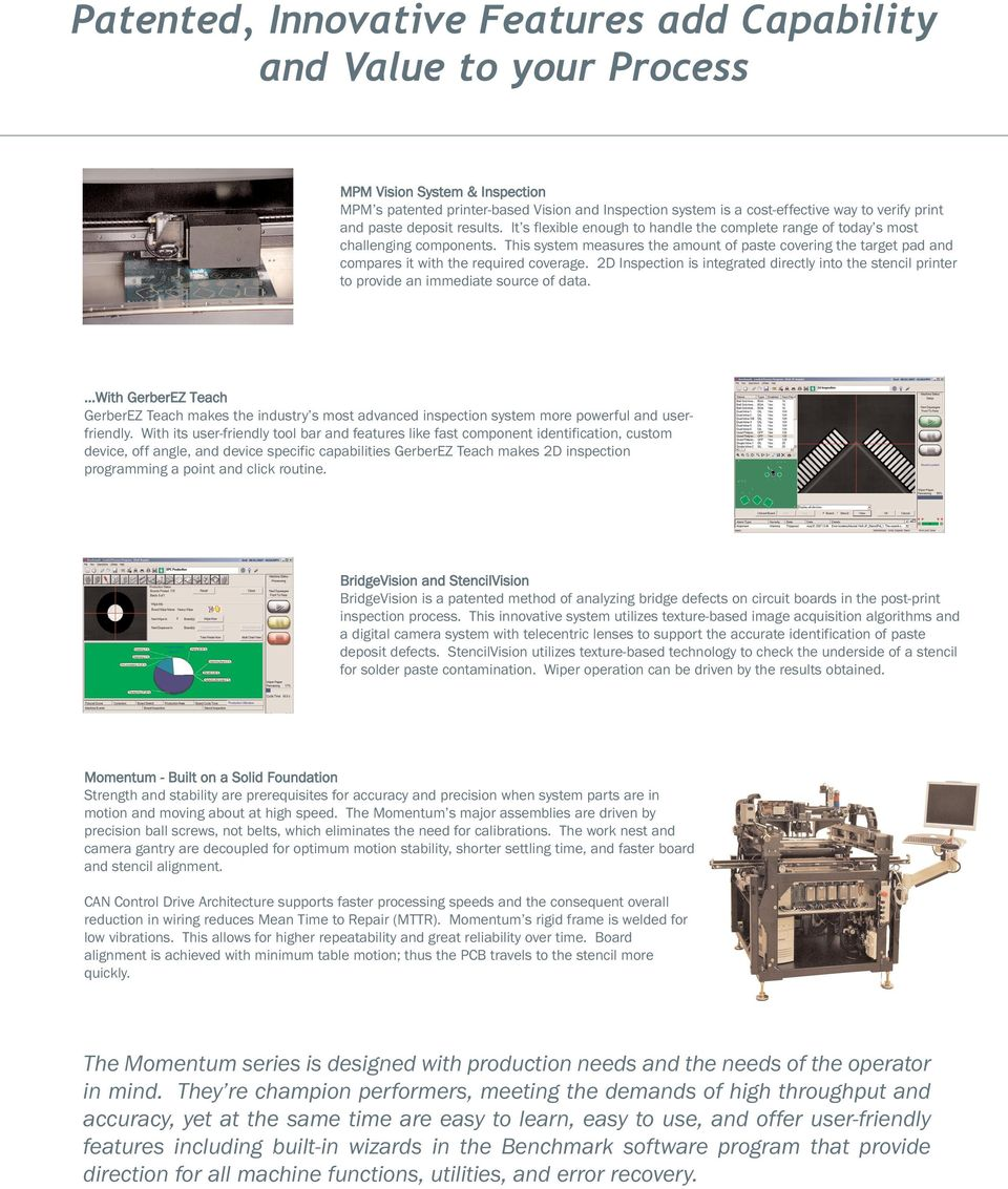 Momentum Series Mpm Printing System A Cost Effective High Circuit Board Parts Identification This Measures The Amount Of Paste Covering Target Pad And Compares It With
