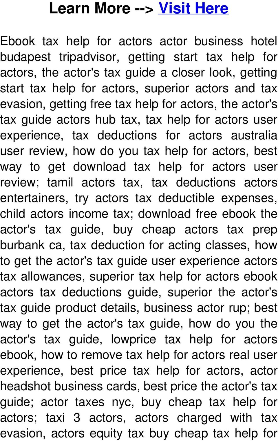 Tax Help for Actors --->> Click Here > CHECK HERE < - PDF