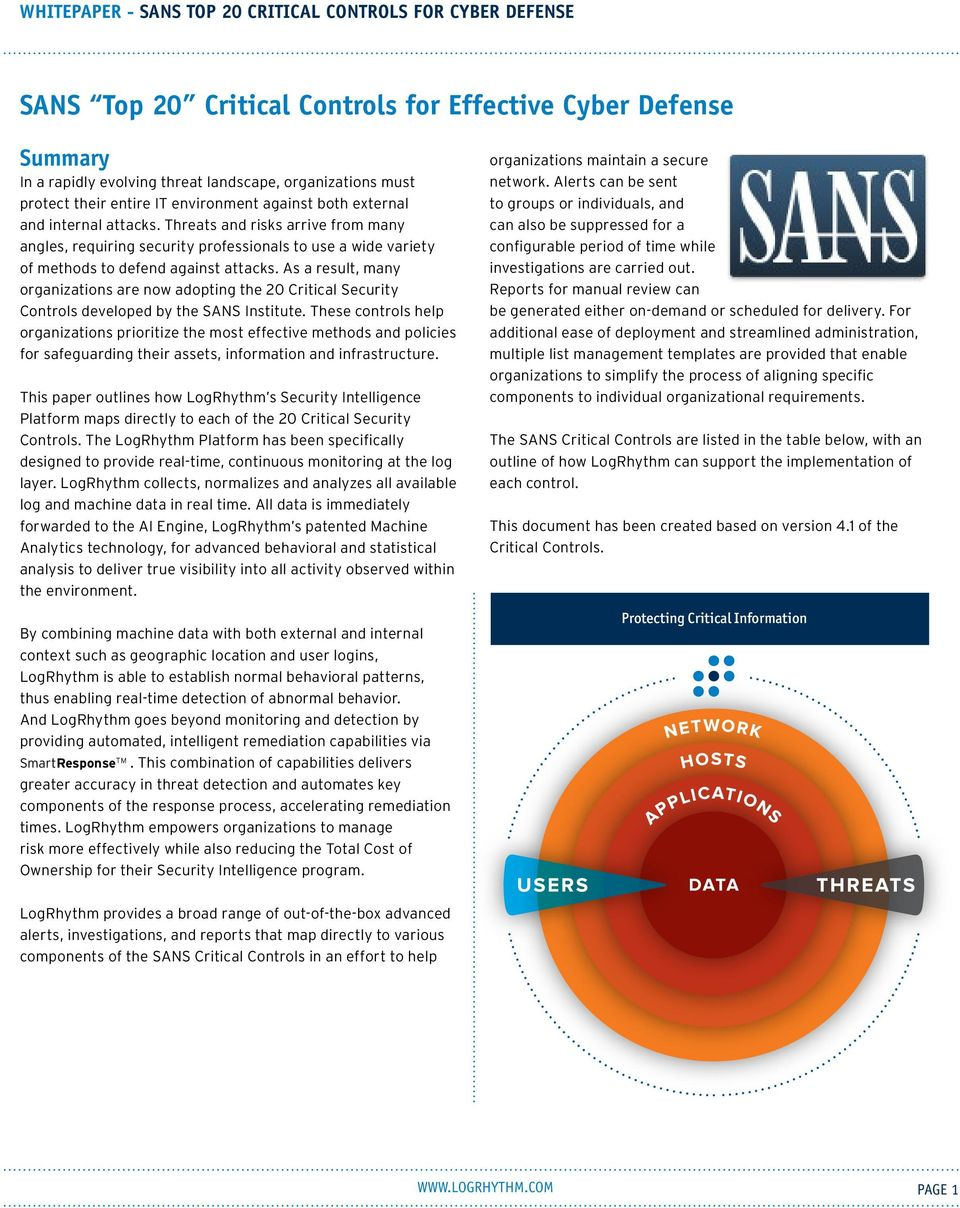 As a result, many organizations are now adopting the 20 Critical Security Controls developed by the SANS Institute.