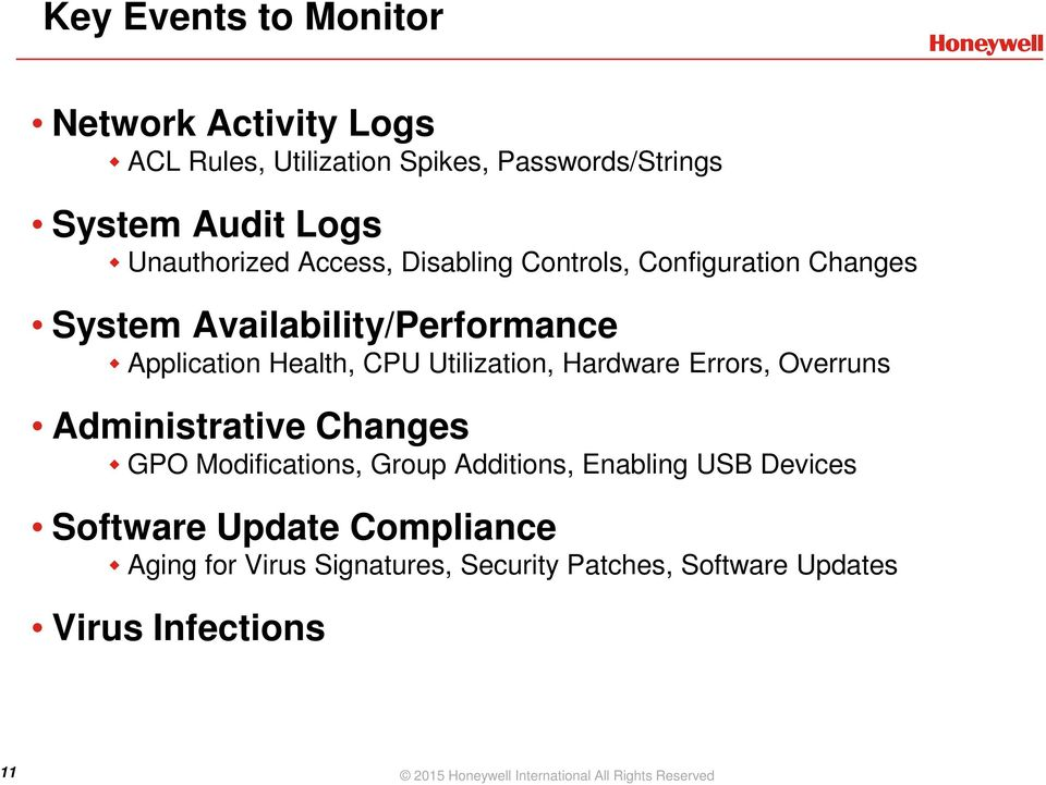 Hardware Errors, Overruns Administrative Changes GPO Modifications, Group Additions, Enabling USB Devices Software Update